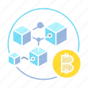 bitcoin, blockchain, connect, cryptocurrency, cube, system icon