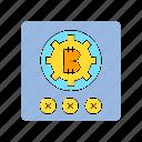 bitcoin, cog, cross, encryption, gear, password, wrong icon