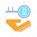 access, bitcoin, hand, key, lcok, private, security icon