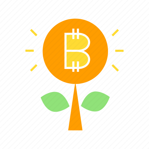 bitcoin, blockchain, coin, cryptocurrency, growth, plant, value icon