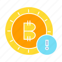 alert, bitcoin, coin, cryptocurrency, warning