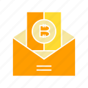 bitcoin, blockchain, cryptocurrency, envelope, letter, salary icon
