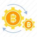 bitcoin, blockchain, cog, cryptocurrency, gear, system icon