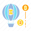 balloon, bitcoin, blockchain, bubble, cryptocurrency, float icon