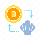 barter, bitcoin, blockchain, cryptocurrency, digital money, exchange, shell, swap icon