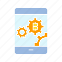 bitcoin, blockchain, cryptocurrency, device, digital money, mobile, smart phone, system icon