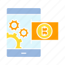 bank, bitcoin, blockchain, cryptocurrency, mobile banking, mobile phone, smart phone icon