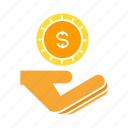coin, dollar, hand, invest, money, saving icon