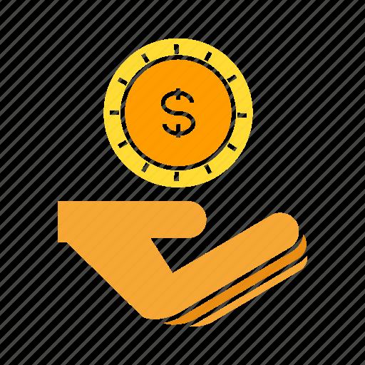 coin, dollar, hand, invest, money, saving icon