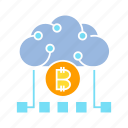 bitcoin, blockchain, cloud computing, cryptocurrency, digital money, internet, network icon