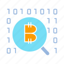 binary, bitcoin, blockchain, cryptocurrency, digital money, encryption, magnifier, scan icon