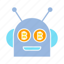 artificial intelligence, bitcoin, blockchain, bot, cryptocurrency, digital money, robot icon