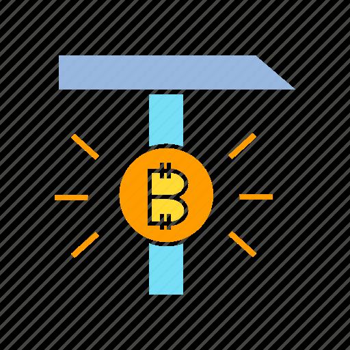 axe, bitcoin, bitcoin mining, blockchain, cryptocurrency, digital money icon