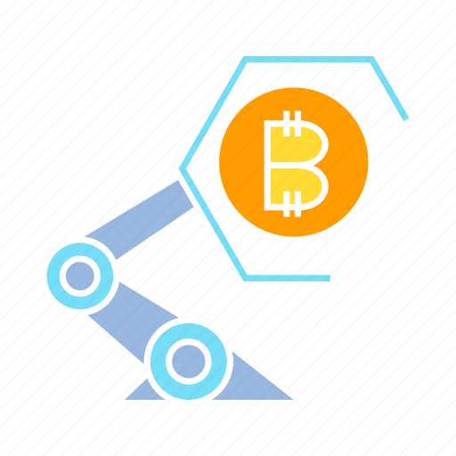 artificial intelligence, bitcoin, blockchain, cryptocurrency, robot icon