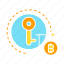 bitcoin, blockchain, cryptocurrency, encryption, key, lock, security icon