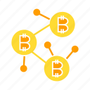 bitcoin, blockchain, cryptocurrency, digital money, link, network icon