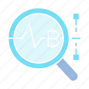 analytics, bitcoin, cryptocurrency, digital money, magnifier, scan icon