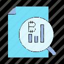 analytics, bitcoin, blockchain, cryptocurrency, digital money, document, graph icon