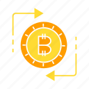 bitcoin, cryptocurrency, currency, digital money, exchange, swap icon