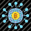 bitcoin, blockchain, digital money, globe, network, share, world