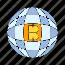 bitcoin, cryptocurrency, digital money, globe, world