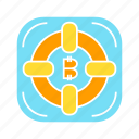 bitcoin, digital money, lifebuoy, security icon