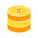 bitcoin, cryptocurrency, digital money, stack icon