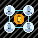bitcoin, blockchain, decentralized, digital money, network icon