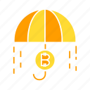 bitcoin, cryptocurrency, digital money, protection, risk, umbrella icon
