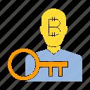 bitcoin, blockchain, digital money, encryption, investor, key, security icon