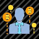 bitcoin, broker, digital money, funder, investor, trader icon