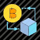 bitcoin, blockchain, box, cube, digital money icon