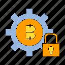 bitcoin, blockchain, digital money, encryption, gear, key, security icon