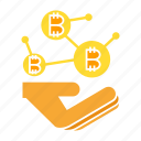 bitcoin, blockchain, cryptocurrency, digital money, hand icon