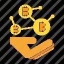 bitcoin, blockchain, cryptocurrency, digital money, hand