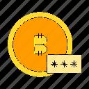bitcoin, blockchain, coin, digital money, encryption, password icon