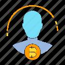 bitcoin, blockchain, broker, digital money, funder, investor icon