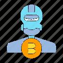android, artificial intelligence, bitcoin, blockchain, bot, digital money, humanoid, robot icon