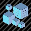 bitcoin, blockchain, box, crypto, cube, digital money icon