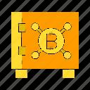 bitcoin, crypto, digital money, protect, safe, security icon