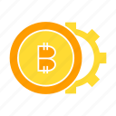 bitcoin, cog, coin, crypto, digital money, gear icon