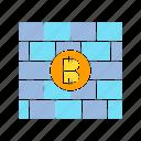 bitcoin, crypto, firewall, protect, security icon
