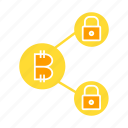 bitcoin, blockchain, crypto, encryption, key, link, lock, security icon