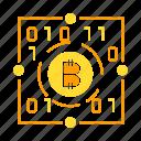 binary, bitcoin, blockchain, crypto, digital money, encryption icon