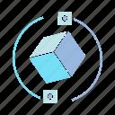 blockchain, box, cube icon