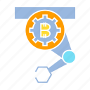 bitcoin, blockchain, crypto, digital money, robot icon