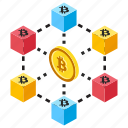 bitcoin club, bitcoin network, electronic bitcoin, payment network, peer to peer icon