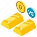 bitcoin vs gold, btc vs gold, cryptocurrency vs gold, gold and bitcoin, investment concept icon
