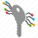 cryptographic key, cryptography, digital key, private key, secret key icon