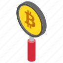 bitcoin explorer, bitcoin search, bitcoin under magnifier, cryptocurrency search, find bitcoin icon